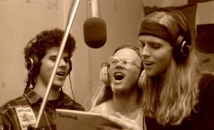 Pissed. recording in Minneapolis, Minnesota, December 1991. Left to right: Dan Siskind, Joel Olson, and Newt Rayburn.