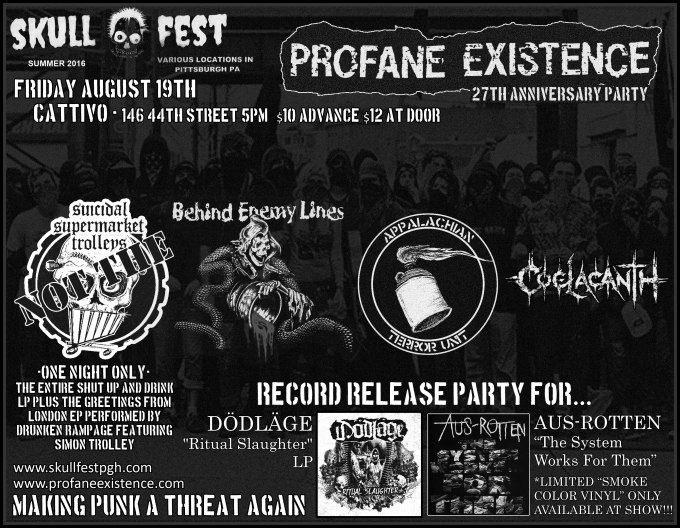 Flyer for PROFANE EXISTENCE 27th year anniversary party at SKULLFEST 8!